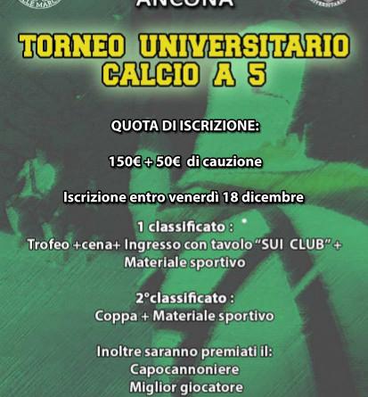 Al via le iscrizioni al Torneo Universitario di Calcio a 5 2015