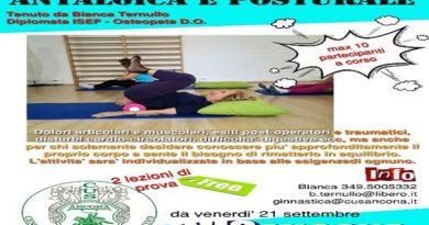 Corsi, al via la Ginnastica antalagica e posturale