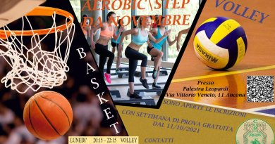 Corsi: Riprendono i corsi di Basket e Pallavolo alla palestra Leopardi di via Veneto